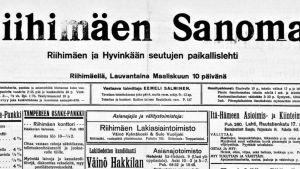 Kuvakaappaus Riihimäen Sanomista sadan vuoden takaa