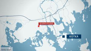 Kartassa ovat Kotkan ja Karhuvuoren sijainnit.
