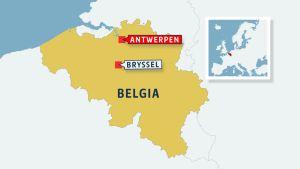 Belgian kartta, johon merkitty Antwerpen ja Bryssel.