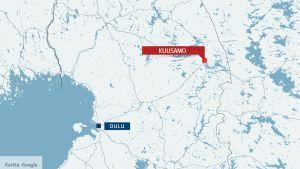 Kartta jossa Kuusamo