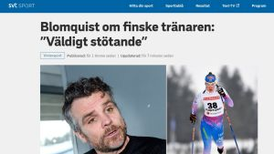 Kuvakaappaus SVT:n urheilusivuilta. asiantuntija Blomquist