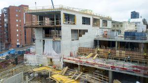 Ratinan kauppakeskuksen rakennustyömaata
