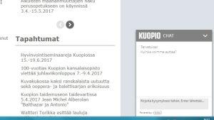 Kuvakaappaus Kuopion kaupungin nettisivujen chat-palvelusta.