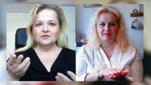 Virpi Vasama ja Tiina Karjalainen Skype-kuvissa.