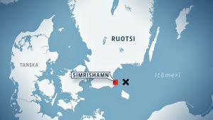 Kartta, jossa näkyy turmapaikka Itämerellä, noin 35 kilometriä Simrishamnista itään.