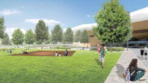 """Arkkitehti Akseli Leinosen suunnittelema """"Massa""""-teos korvaa makasiinirauniot. Havainnekuva Töölönlahden eteläosan puistosuunnitelmasta."""