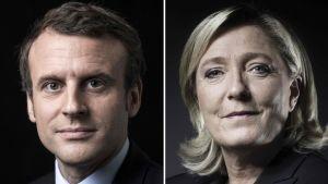 Kuvakollaasi, jossa vasemmalla Emmanuel Macron ja oikealla Marine Le Pen.