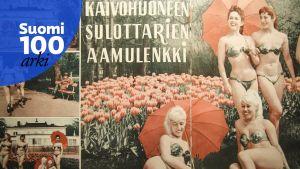 Vuoden 1960 Jallu-lehdessä bikinimallit seikkailivat Kaivopuistossa.