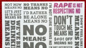Raiskauksen ja seksuaalisen väkivallan vastainen mainos.