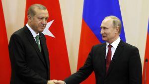 Turkin presidentti Recep Tayyip Erdoğan tapasi Venäjän presidentin Vladimir Putinin Sotšissa Venäjällä 3. toukokuuta 2017.