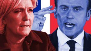Marine Le Pen ja Emmanuel Macron taustallaan Ranskan lippu.