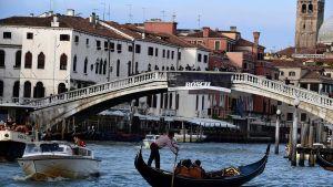 Näkymä Venetsiasta kanaalin varrelta.