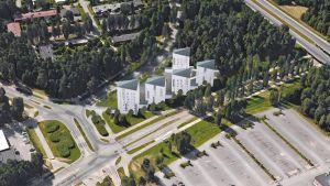 Kaukovainion sisääntulotien varteen on suunnitteilla näyttäviä opiskelija-asuntoa.