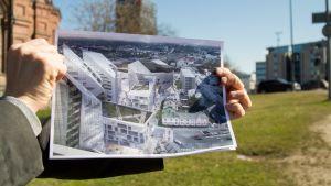 Studio Daniel Libeskindin tekemä havainnekuva tulevasta Kansi ja Areena kokonaisuudesta.