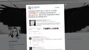 Kuvakaappaus Rowlingin Twitter-tilistä.