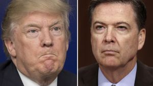 Yhdysvaltain presidentti Donald Trump sekä FBI:n entinen johtaja James Comey.