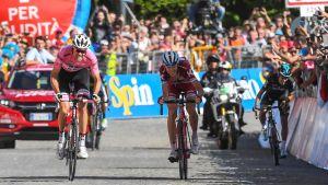 Tom Dumoulin ja Ilnur Zakarin kilpailevat Italian ympäriajon 14. etapin voitosta.