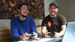 Firetail Games Oy:n toimitusjohtaja Kim Ordén ja pääsuunnittelija Ville Lapakko.