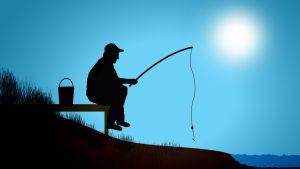 Piirroskuvitus kalastajasta.