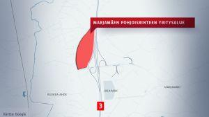 Karttagrafiikka Marjamäen pohjoisrinteen tulevasta yritysalueesta