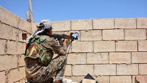 Kurditaistelija tähystää rynnäkkökiväärillään seinässä olevasta aukosta.