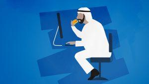 Grafiikka, jossa sheikin näköinen ylipainoinen mies syö hampurilaista tietokoneen äärellä.