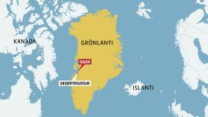 Grönlannin kartta, jonka laidoilla näkyvät myös Kanadan ja Pohjoismaiden rannikot.