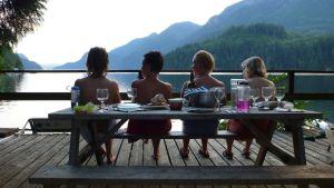 Naisia saunan terassilla.