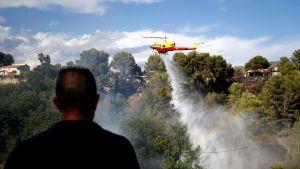 Helikopteri sammutti metsäpaloa lähellä Nizzaa heinäkuun 25. päivänä.