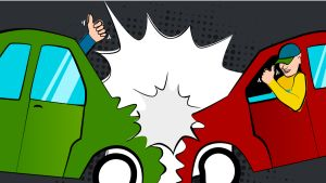 Kaksi autoa ajaa sovitusti kolarin