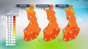 Sääkartat tiistaista torstaille 15.-17. elokuuta.