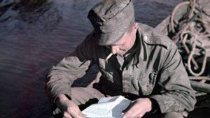 Kotoa on korpeen tullut kirje. Kuvattu 13.-21.7.1942. Petsamo, Luttojoki 1942.07.00