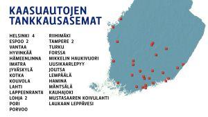 Kaasuautojen tankkausasemat Suomessa -kartta