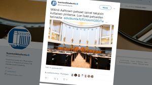 Kuvakaappaus Eduskunnan twitter-sivusta