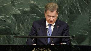 Niinistö puhuu YK:ssa 20. syyskuuta 2017.