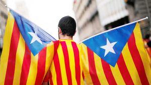 Mies kantaa katalonian lippuja Barcelonassa.