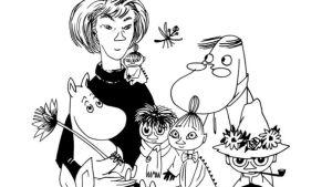 muumeja ja Tove Jansson piirrettyinä