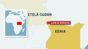 Kartta mihin on merkitty Etelä-Sudan, Kenia ja Lokichogio.