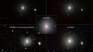 Viiden kuvan yhdistelmä NGC 4993 -galaksin teleskooppikuvista.
