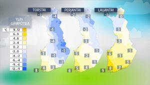 Sää lauhtuu päivä päivältä koko maassa loppuviikon ajan.