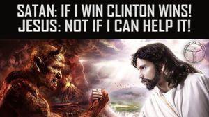 Saatana ja Jeesus vääntävät kättä.