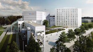 Havainnekuva Tampere-talosta ja Marriott-hotellista