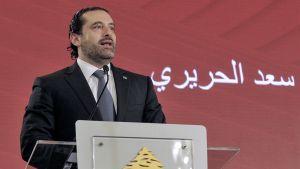 Libanonin pääministeri Saad Hariri puhui piratisminvastaisessa konferenssissa Libanonin pääkaupungissa Beirutissa 3.11.2017.