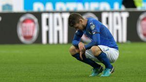 Italian Jorginho pettyneenä ottelun jälkeen.
