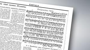Karjalaisten laulun nuotit vanhassa lehdessä