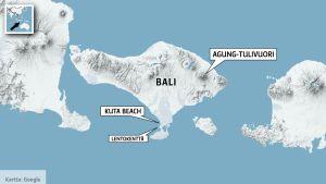 Kuta Selatan, lentokenttä ja tulivuori merkitty kartalle.