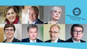 Tuula Haatainen, Pekka Haavisto, Laura Huhtasaari, Merja Kyllönen, Sauli Niinistö, Nils Torvalds ja Matti Vanhanen.