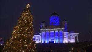 Helsingin tuomiokirkko juhlavalaistiin satavuotiaan Suomen kunniaksi 5. joulukuuta