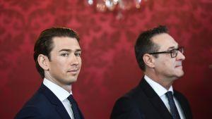 Itävallan liittokansleri Sebastian Kurz ja apulaisliittokansleri / urheiluministeri Heinz-Christian Strache Wienin Hofburg-palatsissa.