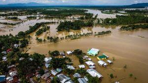 Ilmakuva Kabacanista Mindanaon saarella joka on veden valtaama.